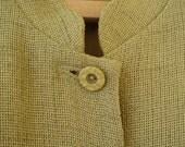 Vintage Dress Button Front Amanda Smith Petites 14 P  Mandarin Collar Moss Green