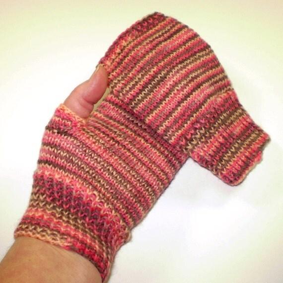 Knit hand warmers -- Handknit fingerless gloves mittens -- Hand hugs in Sunset -- wool blend yarn