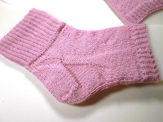 Hand knit flip flop socks -- Toeless pedi socks -- Mini foot hugs in pink blush -- 100% wool yarn