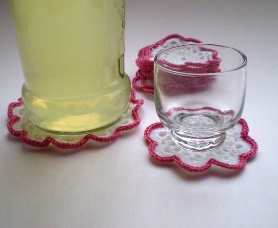 Shot glass crocheted coaster set