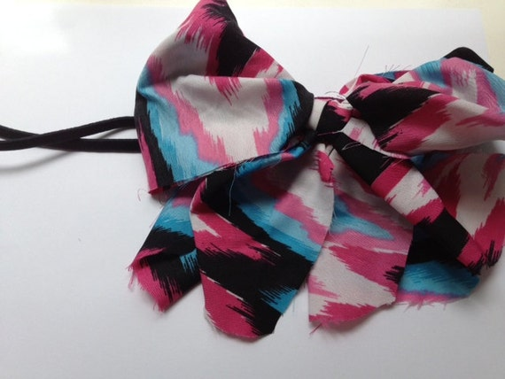 Frayed Neon Material Girly Bow Stretch Headband