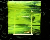 6 inch Square Fused Glass Sushi Plate, Neon Green Streaky and Clear Glass