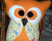 Artflutters   Orange Owl      READY TO SHIP