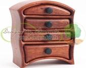 "Baerreis Box, ""Small Owen"" Style, Jewelry Notions Box, Santos Mahogany"