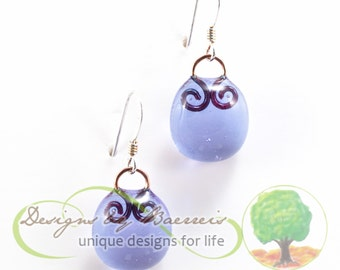 Handmade Fused Glass Earrings  Lavender Jewelry by Elisabeth 925 sterling earwires