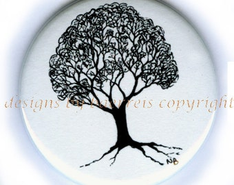 Black and White Pen Ink Drawing Tree by Nathan Baerreis Flat Art Purse Mirror or Magnet or Pin Back Button