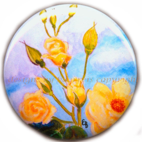 """Yellow Rose Flat Art Purse Mirror - Print of Original Acrylic Painting """"Summer Rose"""" by Elisabeth Baerreis - Velour Bag included 2 1/4 Inch"""