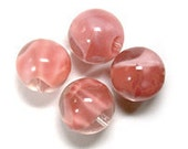 """Vintage Baby Pink & Clear Givre Round Glass Beads 14mm 9/16"""" 4 pcs"""