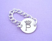 Initial Crown Sterling Silver Charm Chain Ring
