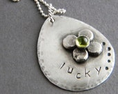 Lucky Green Clover Peridot Gemstone Sterling Silver Necklace, Custom, Unique, One of a Kind,