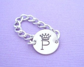 Initial Crown Sterling Silver Charm Chain Ring, silver, custom ring, personalized ring, unique ring, chain ring