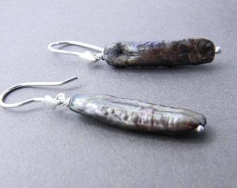 Peacock Pearl Sterling Silver Earrings, Dangle Earrings, Pearl Earrings, Long Earrings, Unique