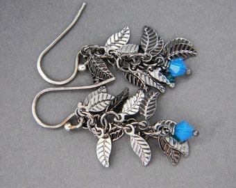 Teal Blue Leaves Earrings