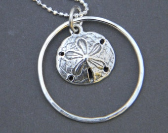 Sand Dollar Sterling Silver Charm Necklace, Silver Necklace, Beach Necklace, Charm Necklace, Sand Dollar