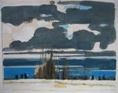 Lake Ontario, Near Noon, Original Landscape Painting on Paper