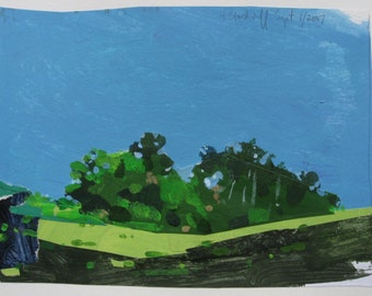 Little Stand, Original Landscape Collage Painting, Stooshinoff