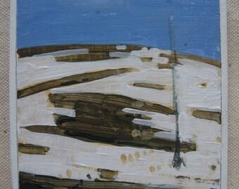 FRIDGE MAGNET, Original Landscape Painting, Spring Thaw