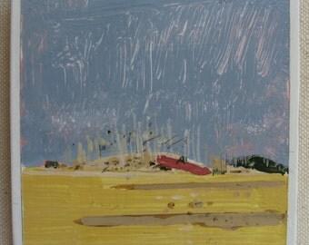 Fridge Magnet, Original Landscape Painting, Spring Hillock