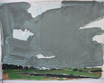 Original Landscape Painting on Paper, July Sky, Stooshinoff