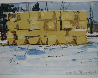 Yellow Stack, Original Small Landscape Collage Painting on Paper
