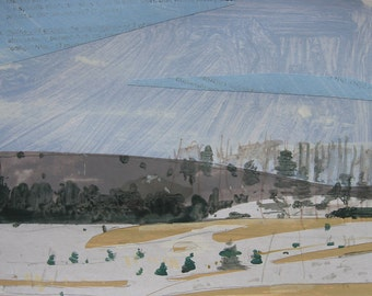 Near the Tree Farm, Orignal Landscape Collage Painting on Paper