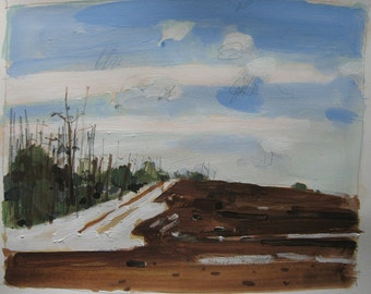 Snow Patch, March, Original Landscape Painting on Paper, Canada