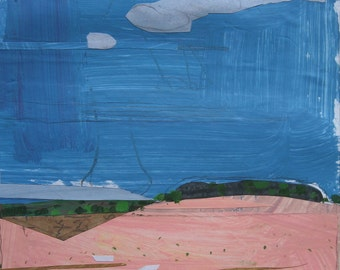 Start, Bean Field, Original Landscape Collage Painting on Paper, Canada