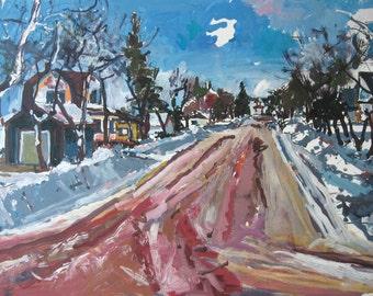 Town Walk, Original Larger Landscape Painting on Paper