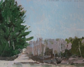 Spring Day on Back Roads, Small Canadian Landscape Painting on Paper, Original