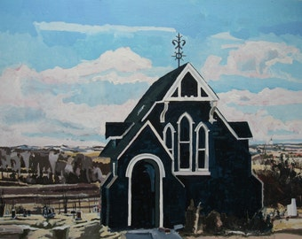 Pioneer Church in Spring, Contemporary Landscape Painting on Paper, Original