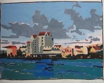 Lakefront, Original Larger Urban Landscape Painting on Paper
