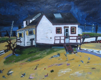 Night Cottage, Larger Original Landscape Painting on Paper