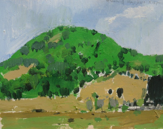 First Green Fox Hill, Original Landscape Painting on Paper