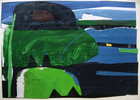 Lake Swimmer, Original Abstract Collage Painting on Paper,