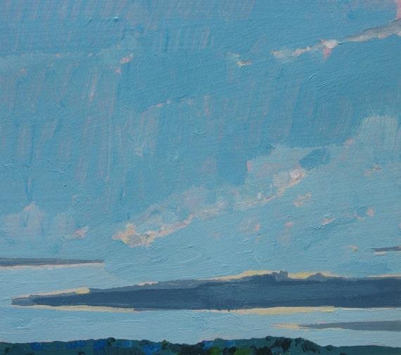 Low Cloud, Original Landscape Painting on Paper, Canada
