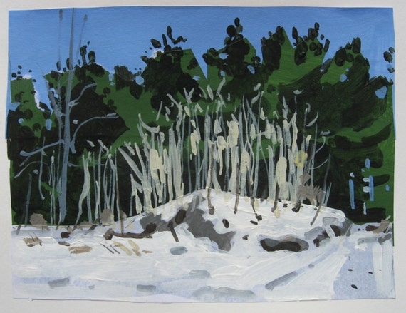 Snow Sumacs, Small Landscape Collage Painting on Paper, Original