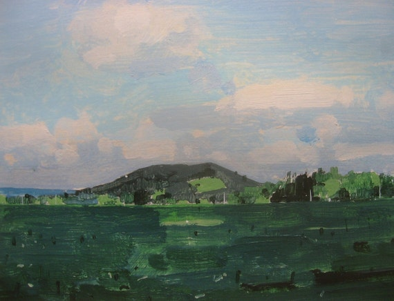 Archival Print on Landscape Painting, 8.5 x 11, Garden Hill Summer