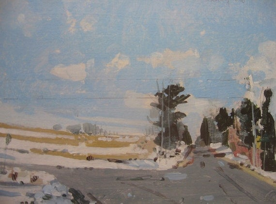 Archival Print of Landscape Painting, 8.5 x 11, Home Way, Winter