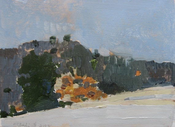 Waiting For Spring, Small Landscape Painting on Paper, Original