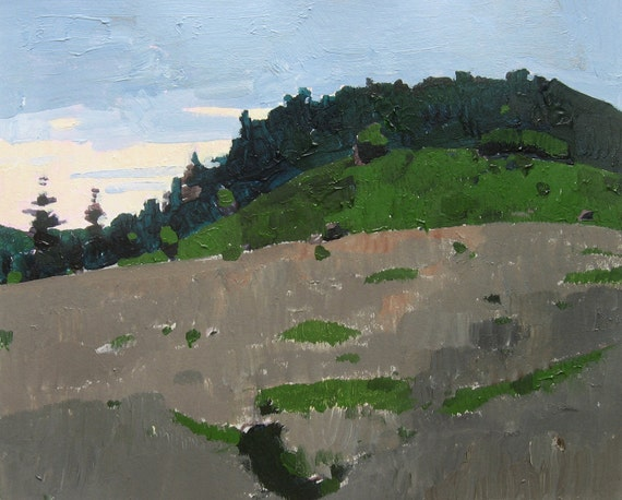Evening, Lost Dog Hill, Original Landscape Painting on Paper