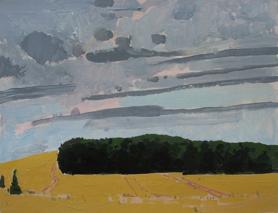 July End, Original Landscape Painting on Paper, Canada