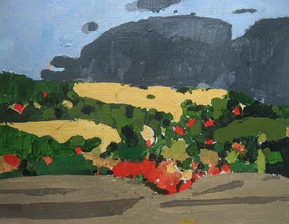 Yellow Peak, Original Landscape Painting on Paper, Canada