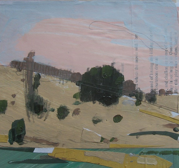 Pink Sky, Lost Dog Hill, Original Landscape Collage Painting on Paper