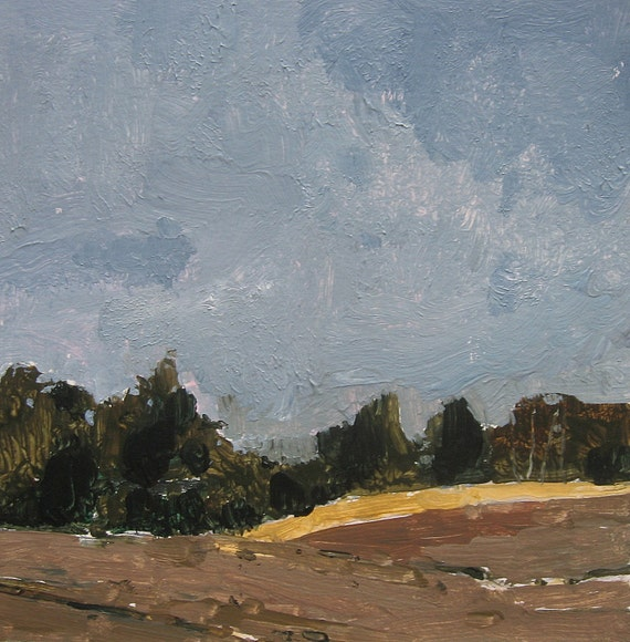 Overcast, Late November, Original Landscape Painting on Paper