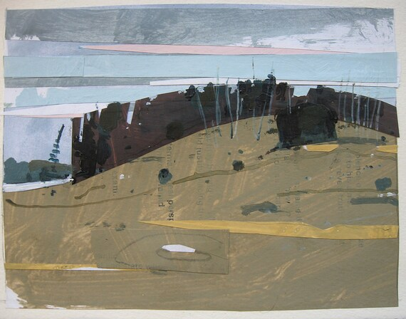 January Melt, Lost Dog Hill, Original Landscape Collage Painting on Paper