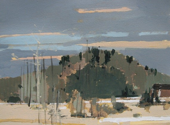 Saturday Hill, Original Landscape Painting on Paper, Canada