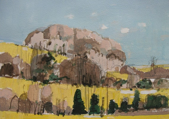 Yellow Hill, Original Landscape Painting on Paper, Canada