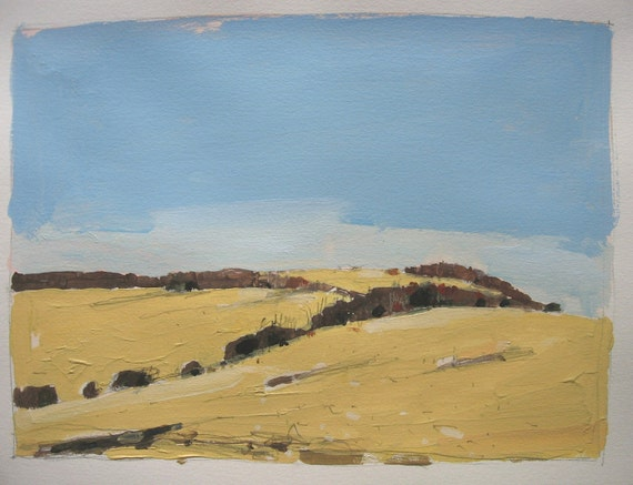 Early April Hill, Original Landscape Painting on Paper, Canada