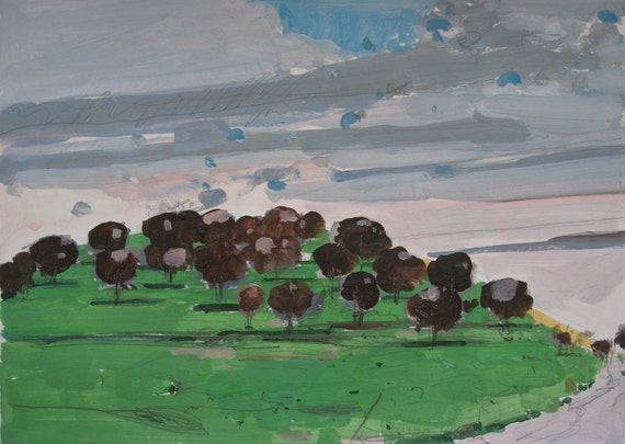 Orchard Asleep, Original Landscape Painting on Paper, Canada