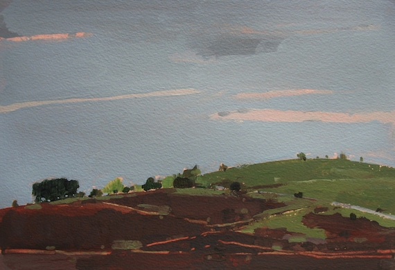 Near Garden Hill, Original Landscape Painting on Paper, Canada